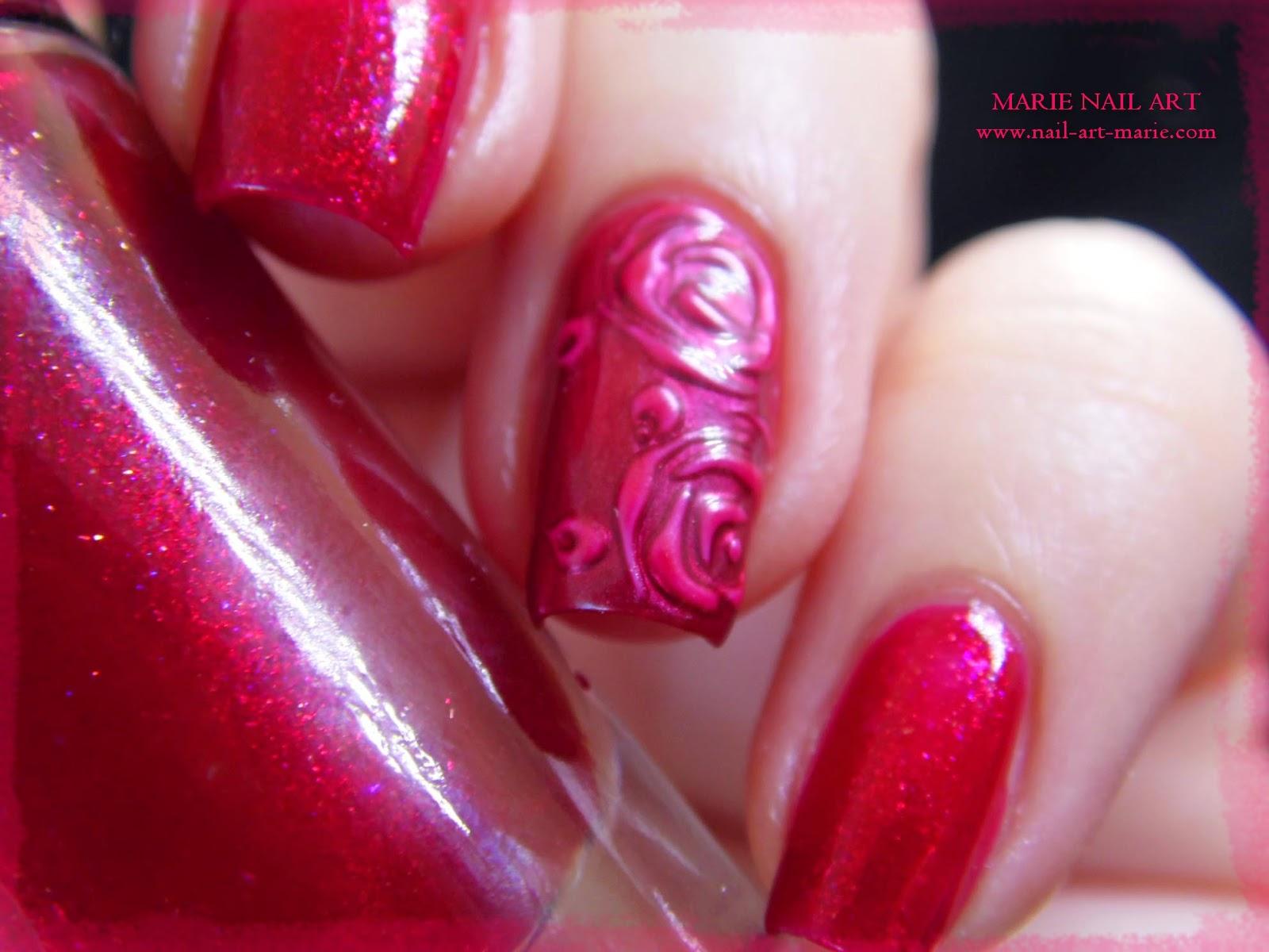 nail art roses métallisées en 3D2