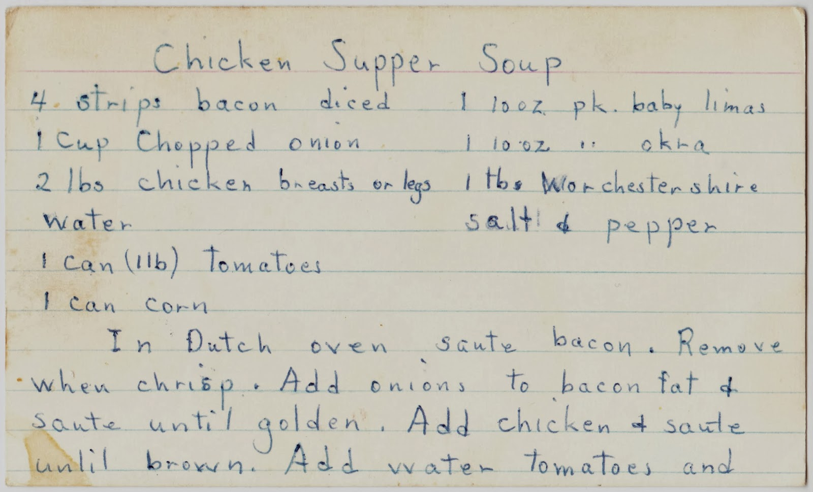 Papergreat two handwritten comfort food recipes here in the dead of whos ready for some warm comfort food here are two handwritten recipes one for chicken supper soup and some apple raisin krisp for dessert forumfinder Gallery