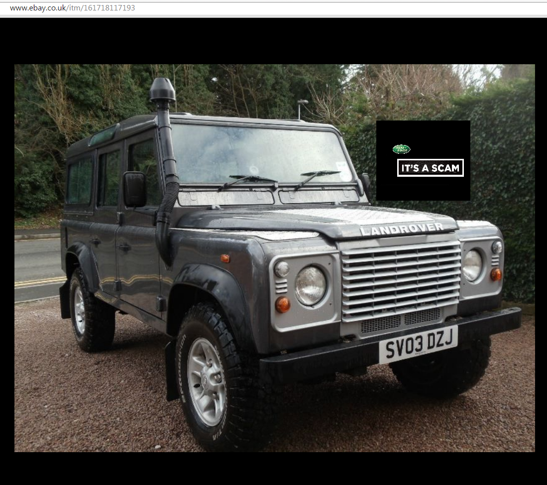 EBAY SCAM : Land Rover Defender 110 TD5 9 Seater | SV03DZJ - Fraud