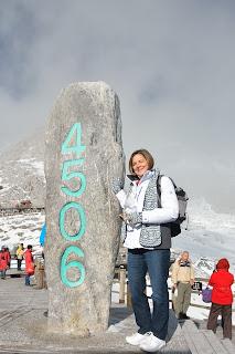 Elevation marker 4506 on Jade Dragon Snow Mountain 玉龙雪山 orYùlóngxuě Shān