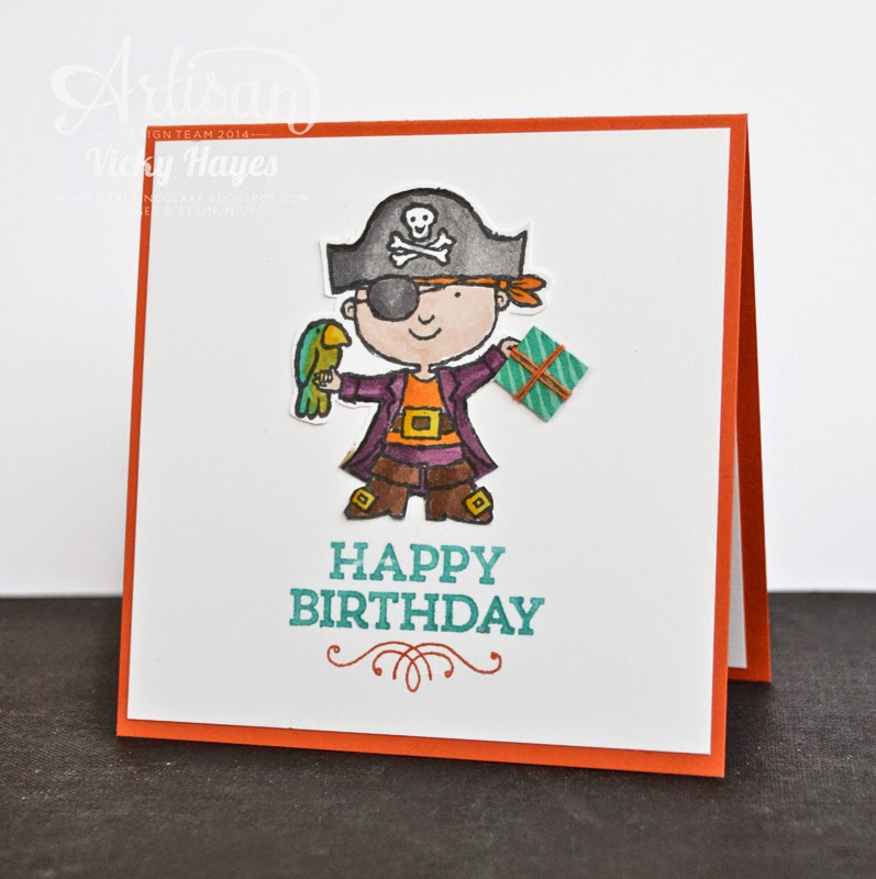 A handmade pirate birthday card for a boy