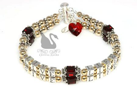 Diane's Custom Live Life Give Life Heart Transplant Bracelet (B113-HRT-II)