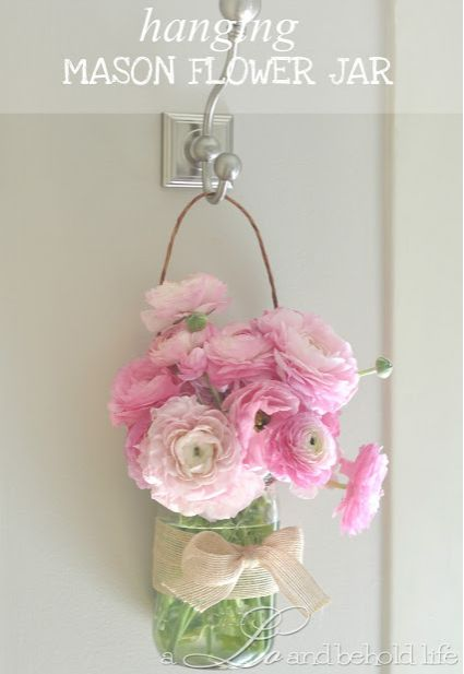 Hanging Mason Flower Jar