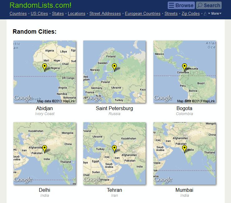 RandomLists.com: Random Cities