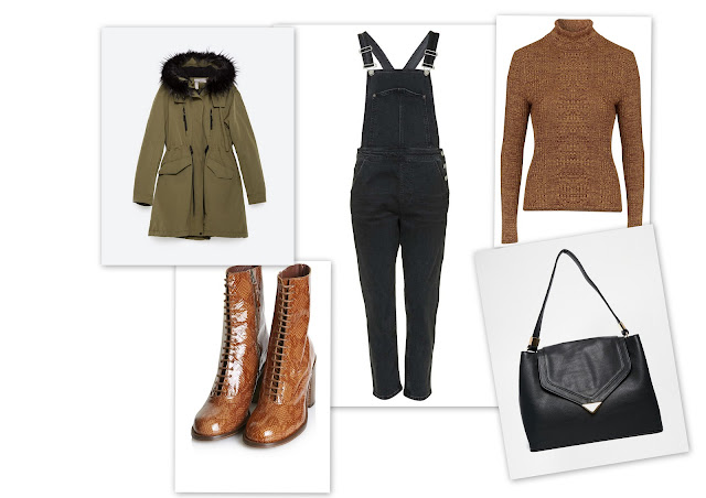 University outfit: roll neck, boots, parka, tote and denim dungarees