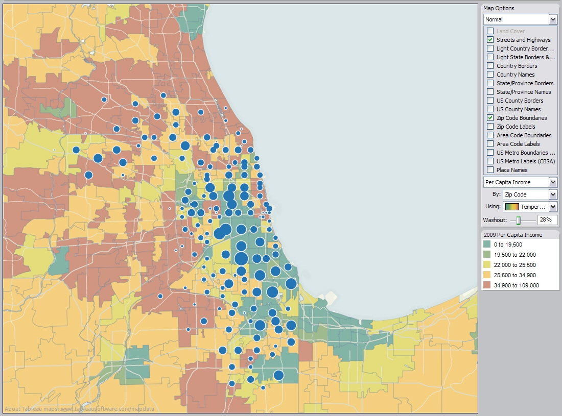 Example 8 Publish A Map Of Foreclosures And Per Capita Income By Zip Code