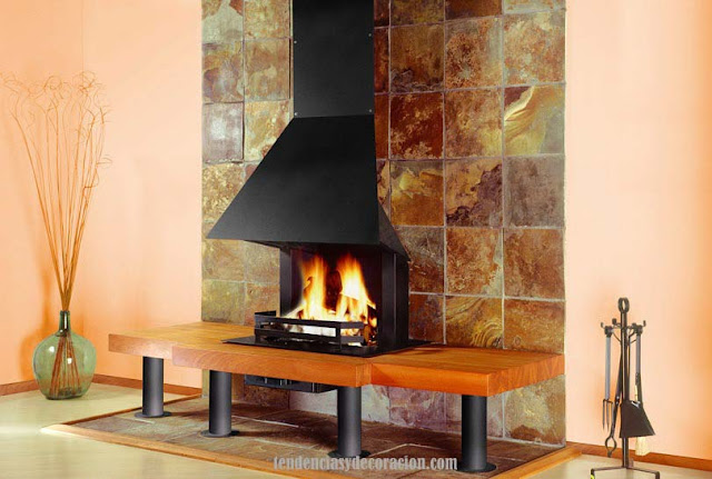Chimeneas de obra modernas visita nuestro showroom with for Chimeneas de obra