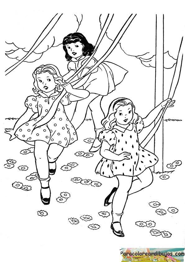 niñas jugando para colorear