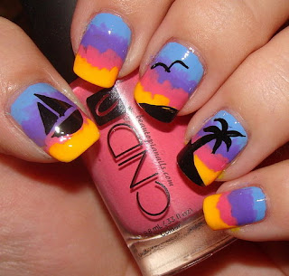 Sunset Palm tree sail boat water sun vacation nails nail art mani manicure Beautopia Nails bird