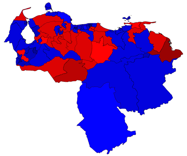 Venezuelan Election 2015:  Results by Electoral circuits,  Blue denotes circuits won by the MUD  and Red denotes those won by the PSUV.