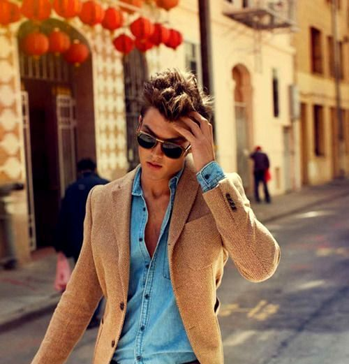 Brown jacket maroon pant blue denim shirt combination for for Matching denim shirt and jeans