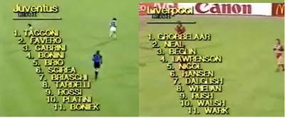 alineaciones Juventus-Liverpool, Heysel, 1985