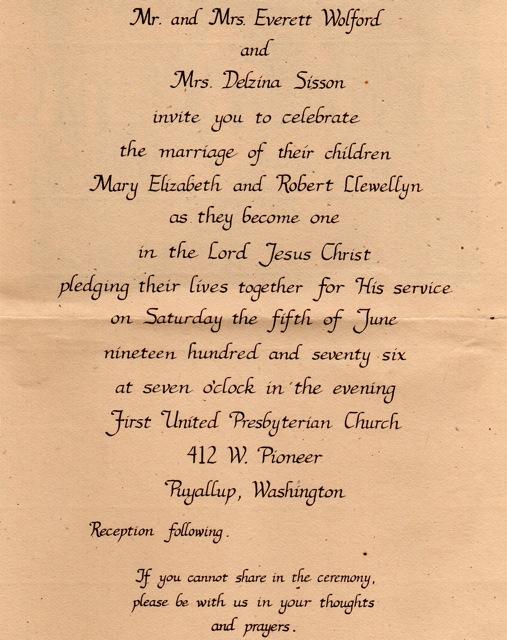 wedding invitation from 1976
