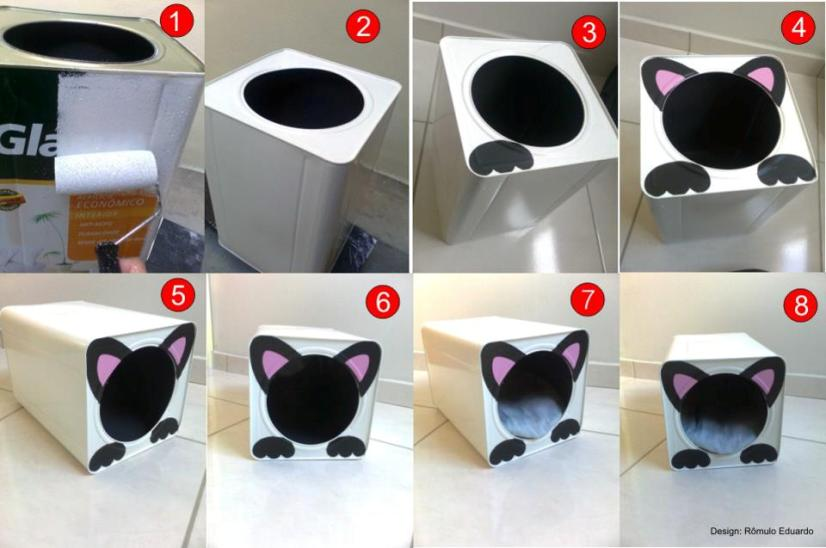 Gatinhos e gatinhas saiba como fazer uma casinha para - Casa para gato ...