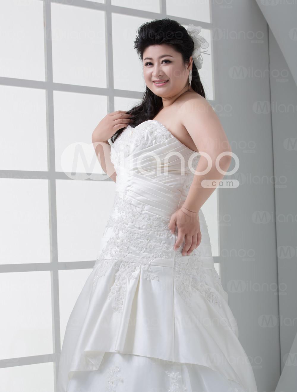 ... : Ivory Satin Doux Cœur organza robe de mariée Taille plus