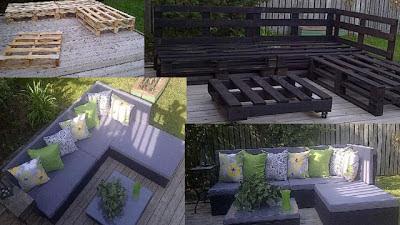 Muebles de palets sof con chaise longue para el jard n for Muebles palets jardin exterior