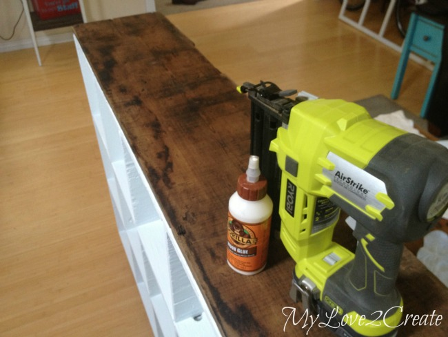 MyLove2Create, Cubby Shelf Revamp, attaching reclaimed barn wood top