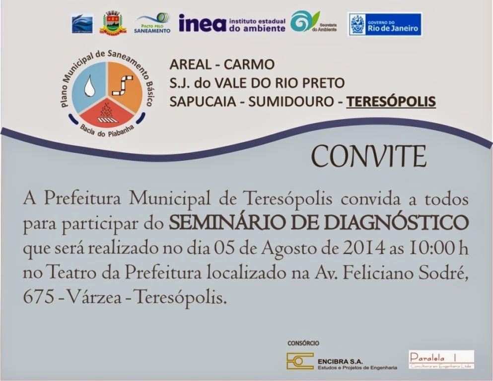 Convite Seminário Plano de Saneamento em Teresópolis
