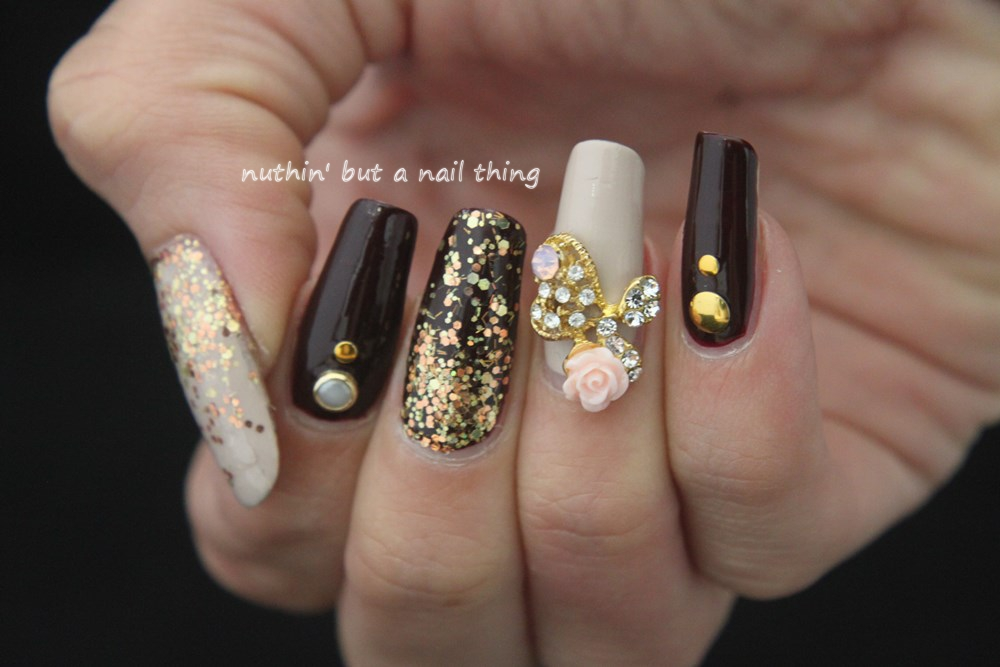 Nuthin but a nail thing gold glitter and maroon nail art bling nail art idea glitter design prinsesfo Images