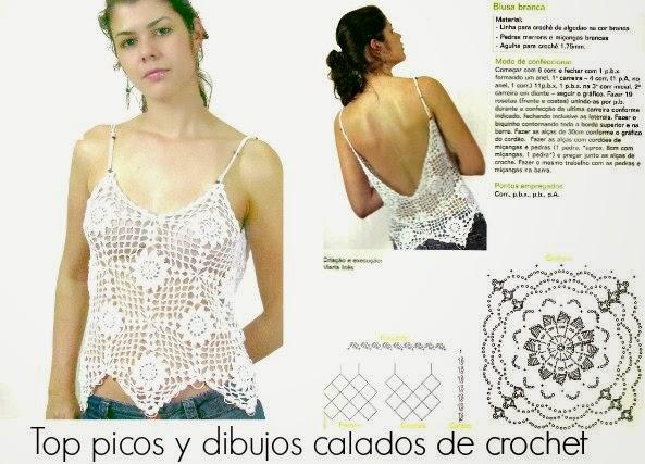 Top con dibujos y picos crochet