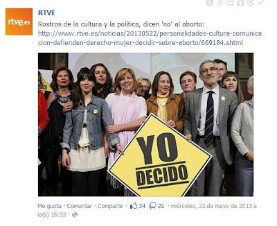 TVE confunde una información sobre un vídeo contra el derecho a decidir sobre el embarazo