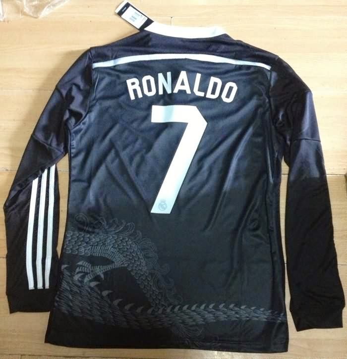 2015 Real Madrid Soccer Jersey Long Sleeve 3rd Black Real Madrid 14 15 Full Sleeve Football Shirt