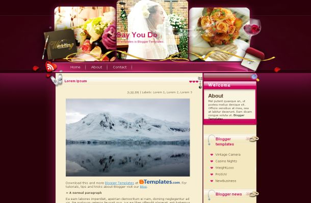 Free Blogger Wedding Pink Purple Theme Template