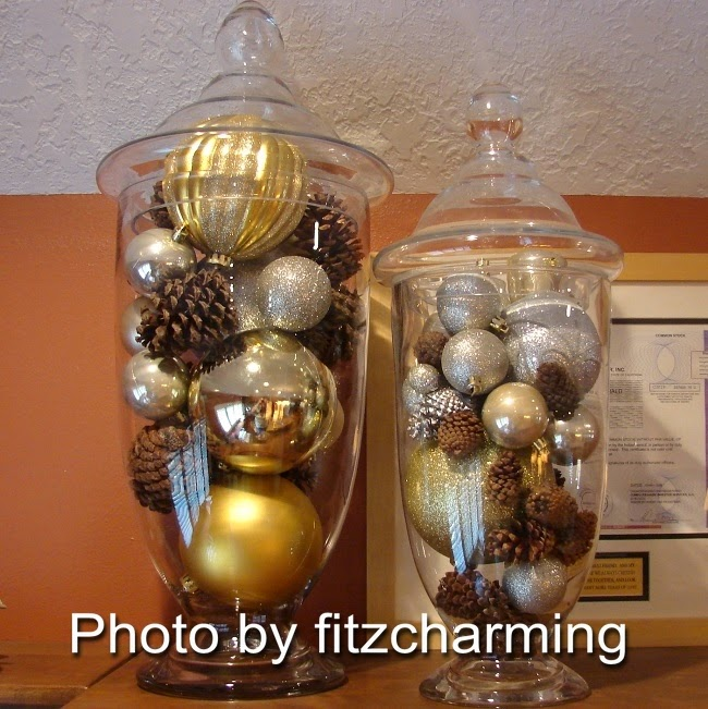 Glass apothecary jars with Dollar Store Christmas ornaments