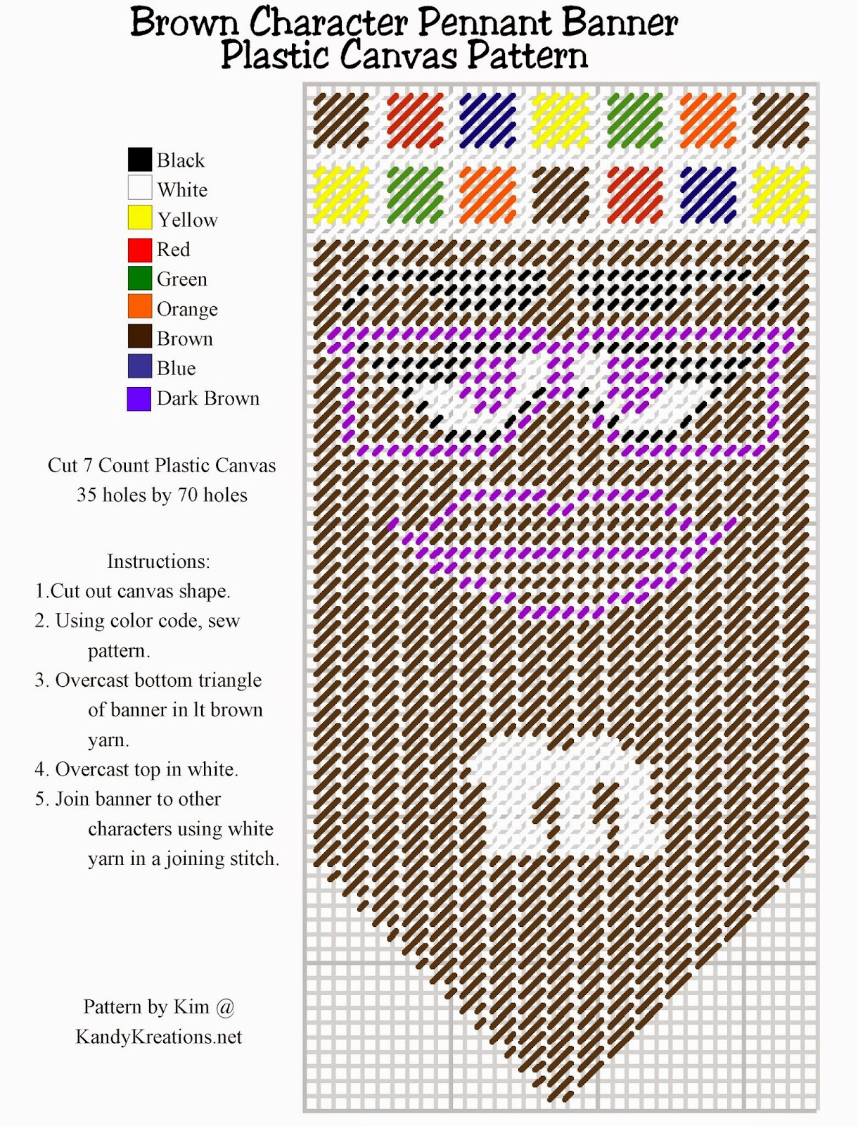 Make your own pennant banner with the brown M&M character using this Plastic canvas pattern freebie.  Simply right click and save this pattern to create your own party decoration or kitchen decor.