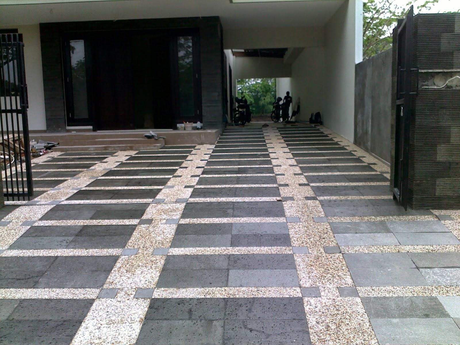 desain batu alam lantai garasi terbaru