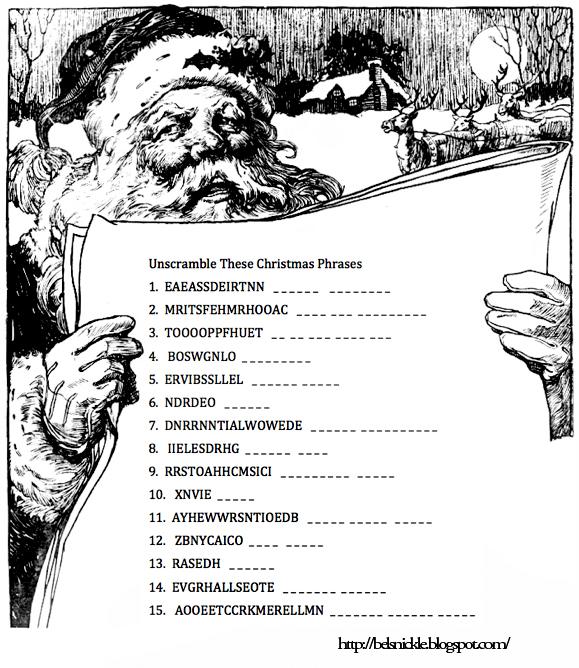 Hard Christmas Word Scramble Unscramble these christmas phrases ...