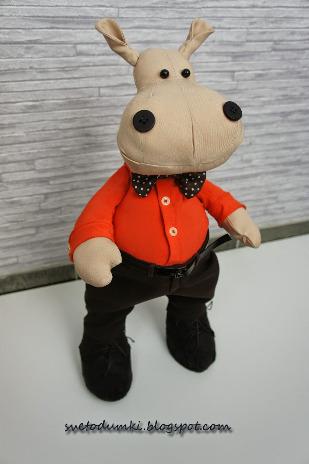Текстильная игрушка бегемот