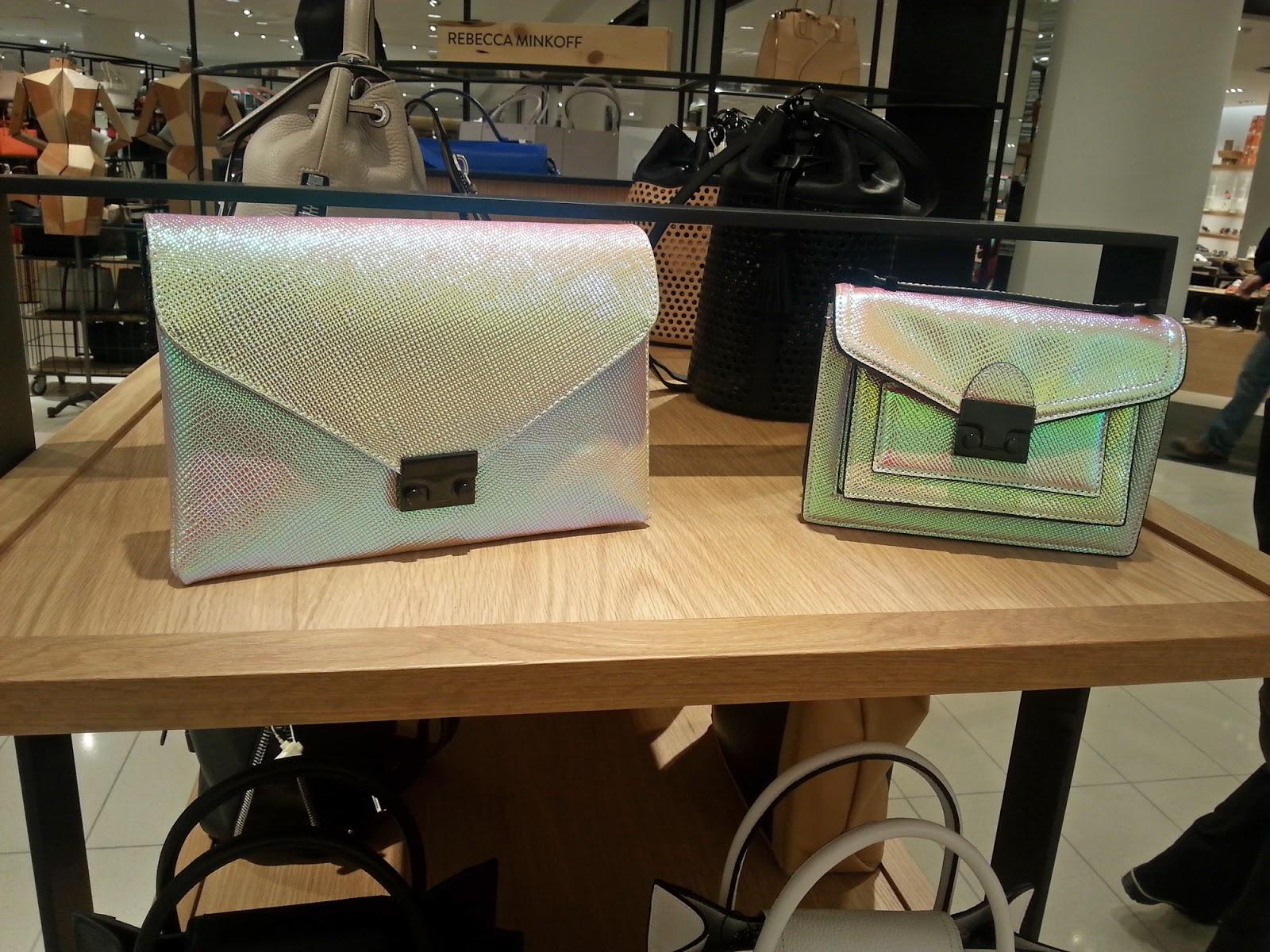 Loeffler Randall Mini Rider bag and Lock Clutch - both in a beautiful iridescent finish