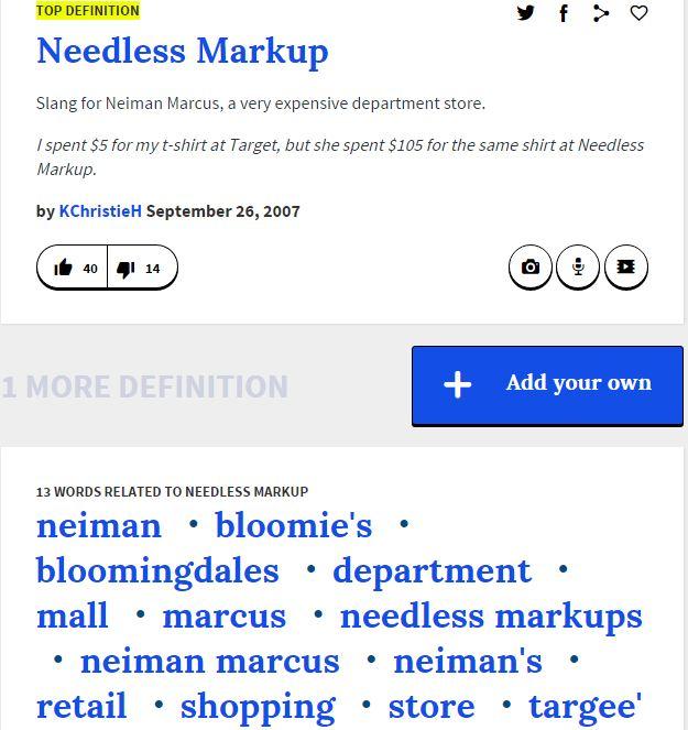 Hoonigan Urban Dictionary >> Trip To The Mall The Needless Markup Joke