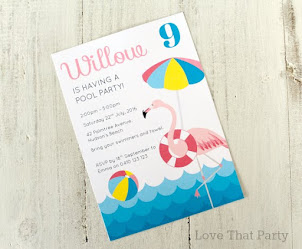 Flamingo Pool Party Invitation