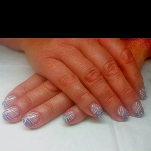 Acrylic gel backfill redesign with red glitz silver for Acrylic toe nails salon