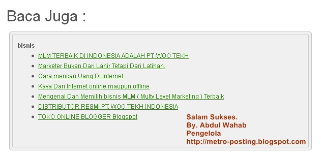 Cara membuat artikel terkait atau related post di bawah ...