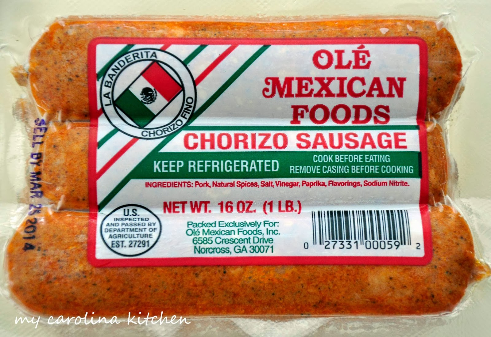 today s recipe uses the mexican chorizo which is quite