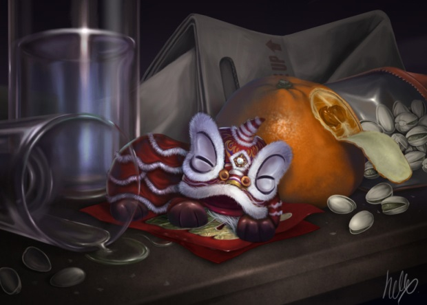 digital art dragon,sleeping dragon,still life