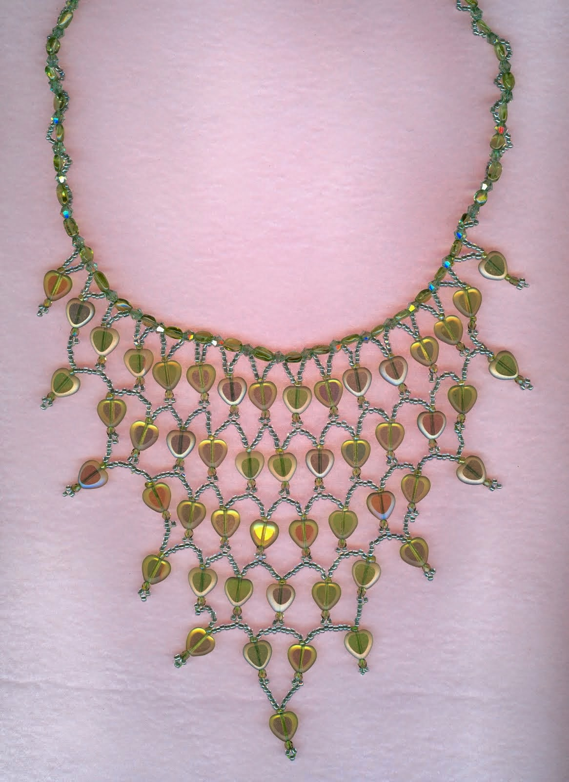 lime green heart shapr czech beads