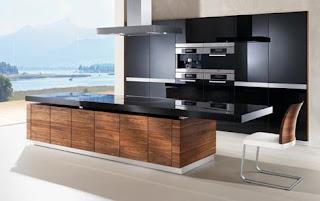 modern kitchen design with large window