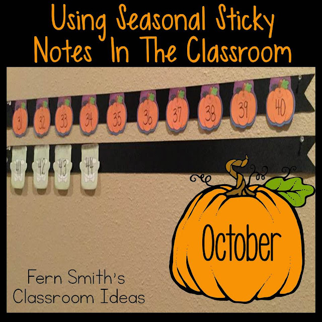 Fern Smith's Classroom Ideas Using Seasonal Sticky Notes in the Classroom for a Working Number Line.