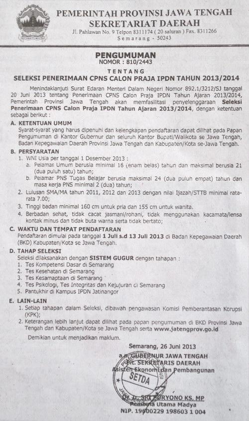 Pengumuman Penerimaan CPNS Calon Praja IPDN