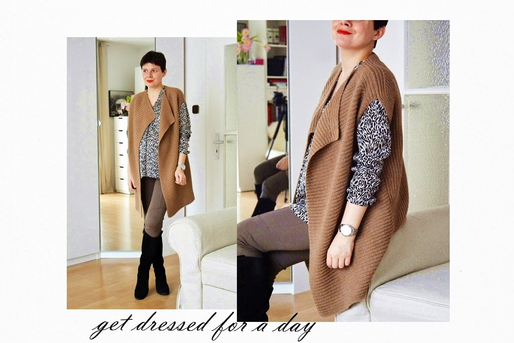 Camel vest Massimo Dutti and print blouse Esprit