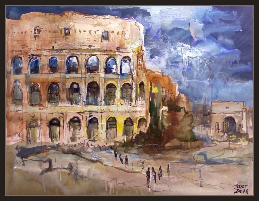 COLISEO-ROMA-PINTURA-PAISAJES-HISTORIA-MONUMENTOS-ARCO-CONSTANTINO-ITALIA-PINTOR-ERNEST DESCALS-