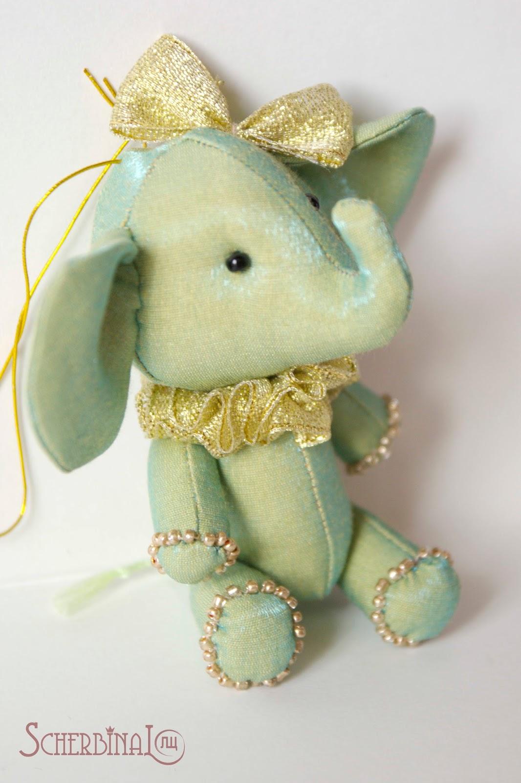 мини слоник, игрушки на ёлку своими руками