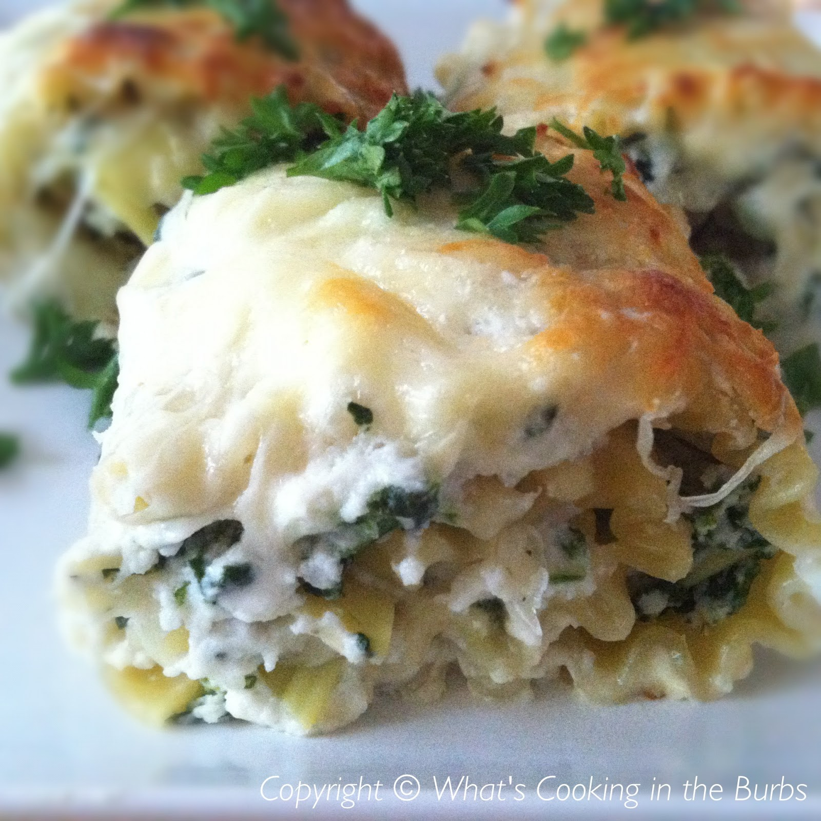... the Burbs: Spinach Artichoke Lasagna Roll Ups with Cream Cheese Sauce