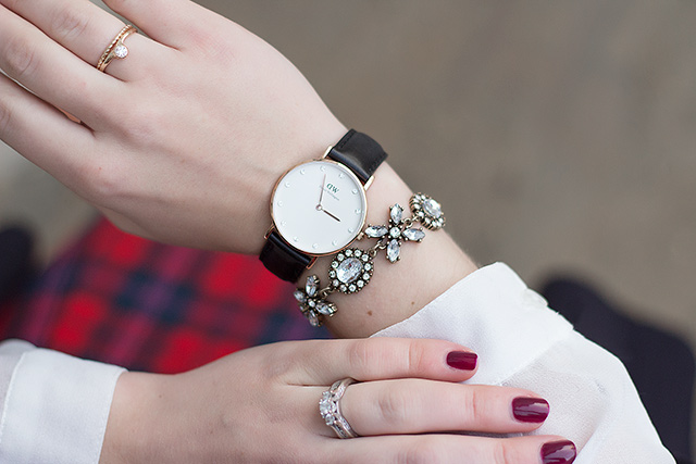 Black and Rose Gold Daniel Wellington Watch // Holiday Outfit Inspiration via Pretty Little Details