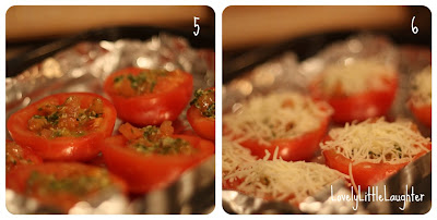 pesto stuffed tomato
