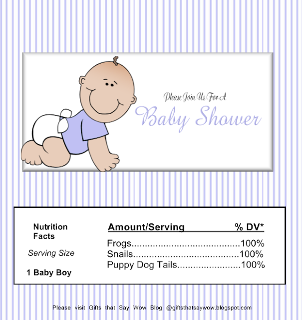 Baby Boy in Light Blue: Free Printable Chocolate Wrapper.